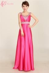 2017 Cestbella New Long chiffon Elegant V Back Bridemaid Evening Party Maxi dress Red us  4