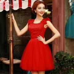Cestbella Knee- Length Sleeveless Cheap Bridesmaid Dress Red us 4