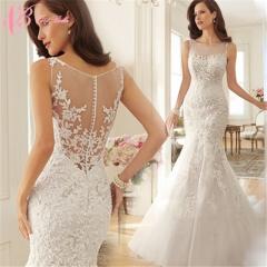 Cestbella New Model Cheap Elegant Ivory Mermaid Wedding Dress 2017 White us 4