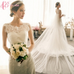 Cestbella Cotton Mermaid Long Tail Comfortable Wedding Dress 2017 Luxury For Bride White us 4