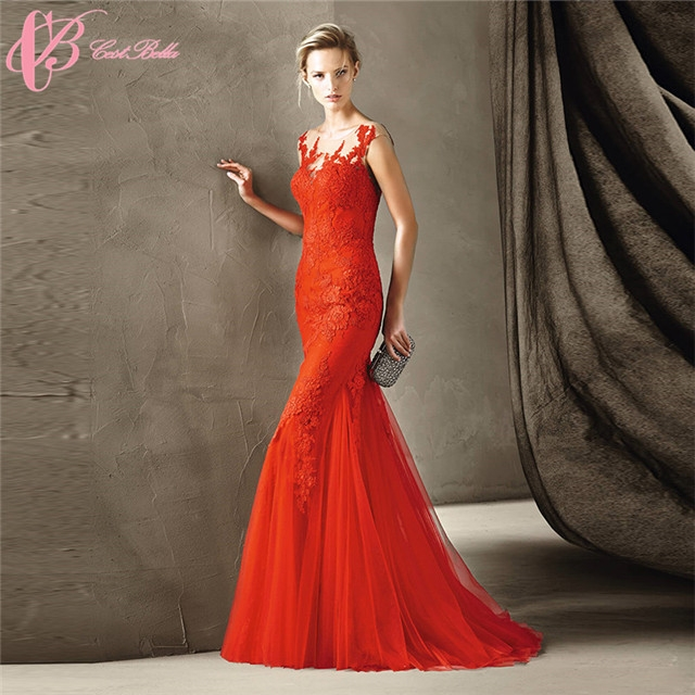 1761a45da07 Cestbella Showy Red Mermaid Guangzhou Factory Cap Sleeve Chiffon Evening  Dress ...