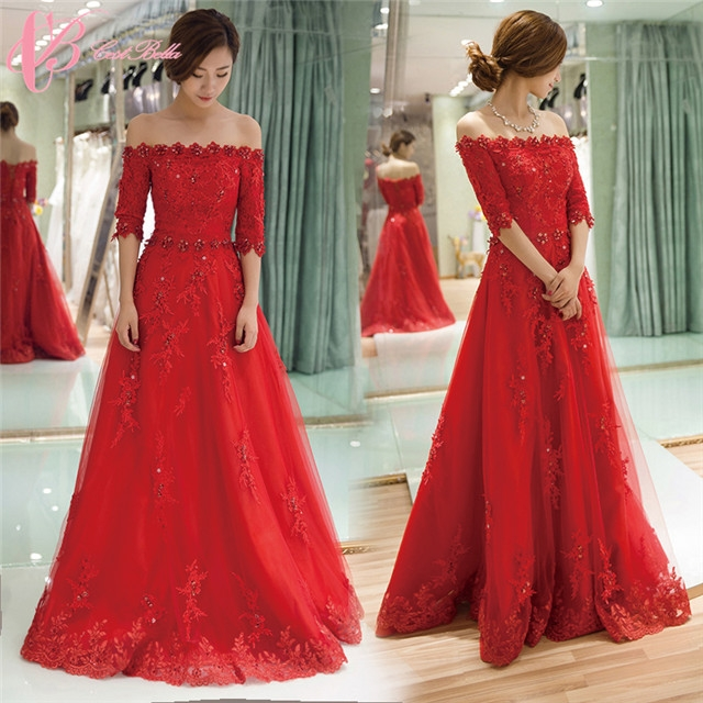 Christmas Evening Party.Cestbella Elegant Lace Appliqued A Line Tulle Red Long Christmas Evening Party Dress 2016 Red Us 4