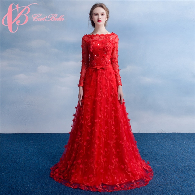 ac6e161b36ca Cestbella Elegant Long Sleeve Red Wedding Dresses Evening Dress Evening  Wear Party Wear Red us 4