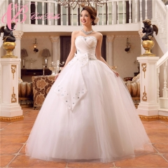 Cestbella Concise Puffy Off-Shoulder Cheap Ball Gown Princess Wedding Dress White us  14