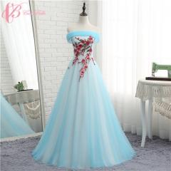 Cestbella New Model A Line Elegant Blue Embroided Flower Lace Wedding Dress 2017 Light Blue us 4