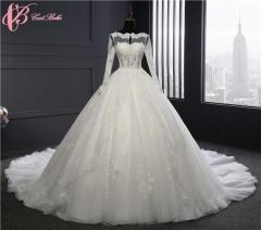 Cestbella China Guangzhou Long Sleeve Lace Appliqued Wedding Dress 2017 White us 4