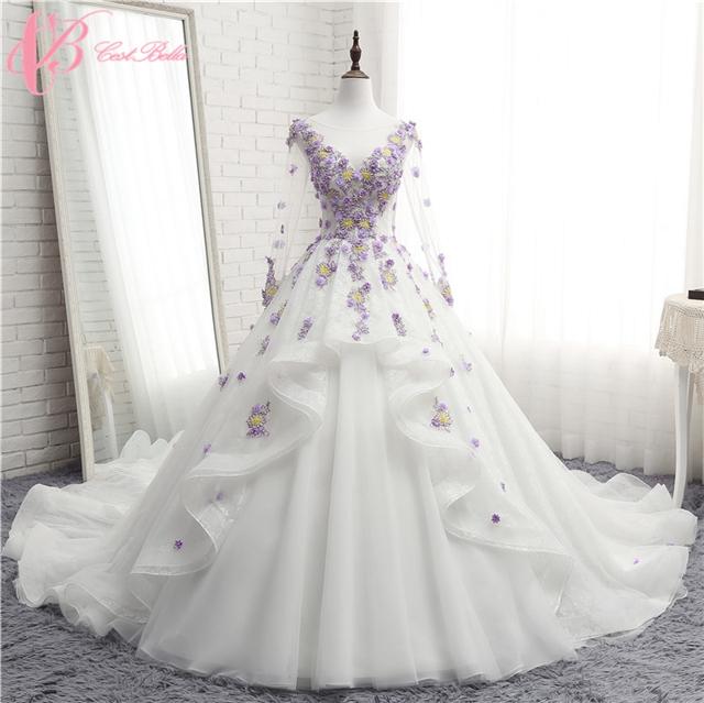 Cestbella Hot Cake Light Purple Long Sleeve Wedding Dress Hand Made ...