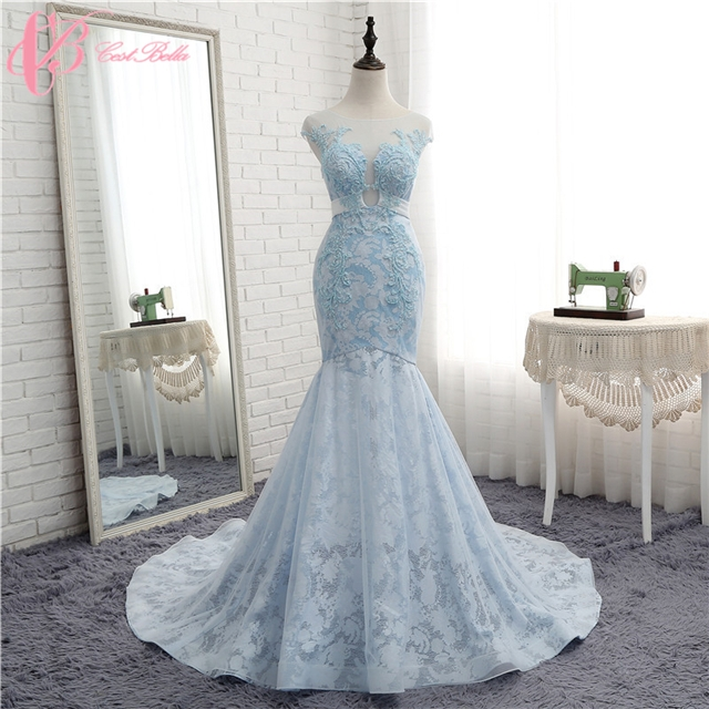 Luxury Sparkling Beaded Lace Light Blue Mermaid Wedding Dresses 2017 New Design Light Blue Us 4