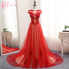 Cestbella High Quality Sparkling Red Cheap Wedding Dress Lace Sweetheart A Line 2017 Custom Made Red us 4