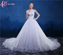 Cestbella Latest Design Gorgeous Luxury White Lace Fabric Appliqued Wedding Gown sweetheart White us 4