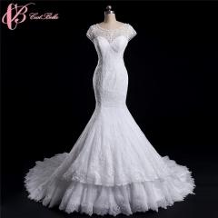 Cestbella High Quality illusion sweetheart neckline wedding dress mermaid White us 4