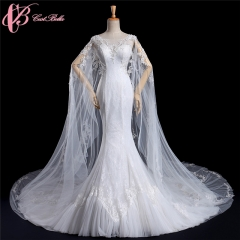 Cestbella Appliqued Flowers Tulle Lace Mermaid muslim wedding gown white us 4