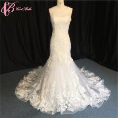 Cestbella Wholesale Real Photo V Neck Off Shoulder Lace Mermaid Wedding Dresses White us 4