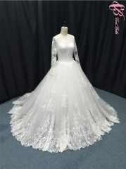 Cestbella 100% Real Photos Long Sleeve Lace Wedding Dress Bridal Ball Gown Wedding Dress 2017 White us 4