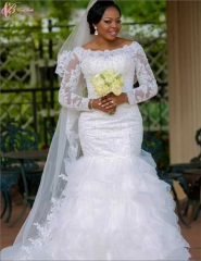Cestbella African Style Mermaid Wedding Dress with Long Sleeves White us 4