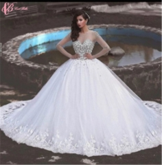 Cestbella Bling Crystal BeadedBall GownLace Appliqued Gorgeous Wedding Dress Pure White us 4
