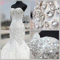 Cestbella Shining Crystal Beaded Amazing Bling Gorgeous Off-shoulder Wedding Dress Pure White us 4
