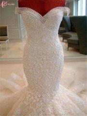 Cestbella Crystal Beaded Bling Off-shoulder Floor LengthPopularWedding Dress Pure White us 4