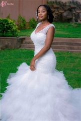 Cestbella Cap Sleeve Elegant African Style Long Train Wedding Dress  Pure White us 4