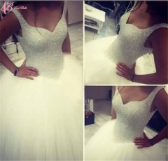 Cestbella High Quality High End Crystal Beaded Bling Sleeveless Gorgeous Wedding Dress Pure White us 4