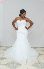 Cestbella Bling Elegant Princess African Customized Wedding Dress Off-shoulder Mermaid Pure White us 4