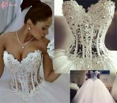 Cestbella High End Deep V Off-shoulder Shining Mermaid African Wedding Dress Pure White us 4