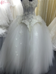 Cestbella Luxury Slim lace Appliqued Gorgeous Wedding Dress Crystal Beaded Bling Wonderful Gown Pure White us 4