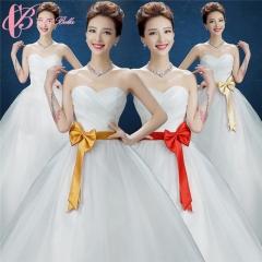 Wholesale Colored Ribbon Off-shoulder Cheap Lace Applique Ball Bown Promotion Princess Wedding Dress pure white us 4