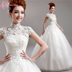 2017 New Design Cheap Elegant Short Sleeve Ball Gown Wedding Dress Cestbella pure white us 4
