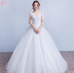 Suzhou factory elegant long married ball gown Princess Wedding Dress pure white us 4
