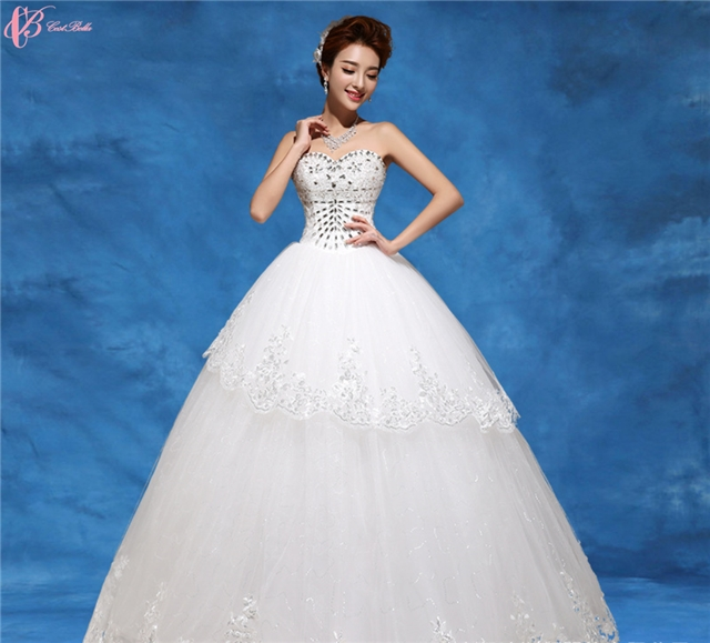 Kilimall: Beaded Crystal White Puffy Ball Gown Wedding Dress With ...