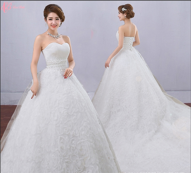 Kilimall: Princess contracted long train white bridal ball gown ...