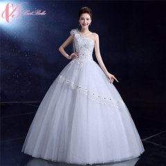 One Shoulder Special Design Ball Gown Wedding Dress Cestbella pure white us 4