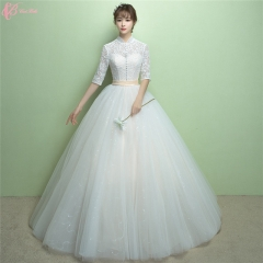 High Neck Elegant Sexy Long Sleeve Layers Ball Gown Spanish Style Wedding Dress pure white us 4