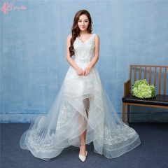 2017 Luxury Sexy Wedding Dresses Under 100 Lace Applique With Short Front Long Tail pure white us 4