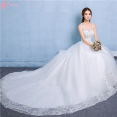 Alibaba Sexy Lace Applique Long Tail V Neck Wedding Dress Philippines pure white us 4