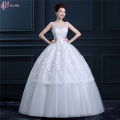 Guangzhou Factory Cheap Pure White Wedding Dresses Gowns Feather Decoration pure white us 4