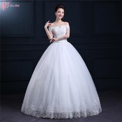2017 Pakistani Off Shoulder Ball Gown Lace Applique Bridal Wedding Dresses pure white us 4