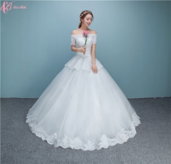 Suzhou Sexy Simple Crystal Beaded Ball Gown Wedding Dresses For Fat Woman pure white us 4