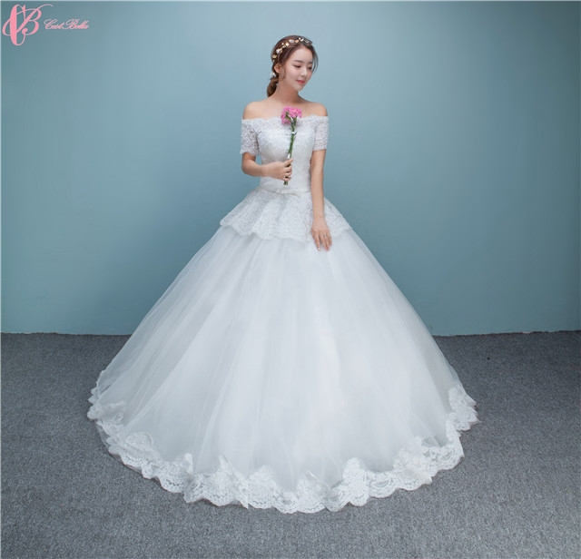 Suzhou Y Simple Crystal Beaded Ball Gown Wedding Dresses For Fat Woman