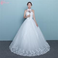 2017 Halter Dress Crystal Beaded Elegant Princess Wedding Dresses Ball Gown Online pure white us 4