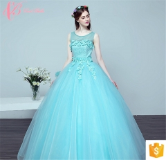 Crisp Blue Puffy Ball Gown Party Wear for Ladies New Style Evening Dress blue us 4