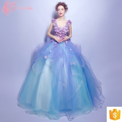 Top Quality Chic Style Elegant Colored Bridal Dress China Custom Made Ball Gown Wedding Dress blue us 4