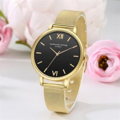 Male Watches Alloy Band Watch Men Women Unisex Business Watch gold normal