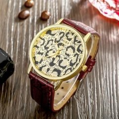 Unisex Watches Men Women Leather Band Watch brown normal