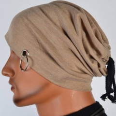 (khaki in Stock) Male Men's Hats Soft Warm Autumn Slouch Hollow Beanie Thin Cap Skullcap khaki