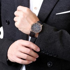 Male Quatz Watch 2 Colors Watches Leather Band Watch Men black normal