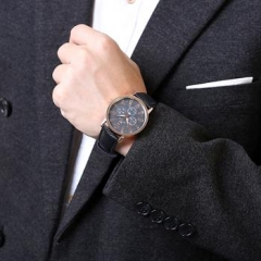 Male Quatz Watch 2 Colors Watches Leather Band Watch Men brown normal