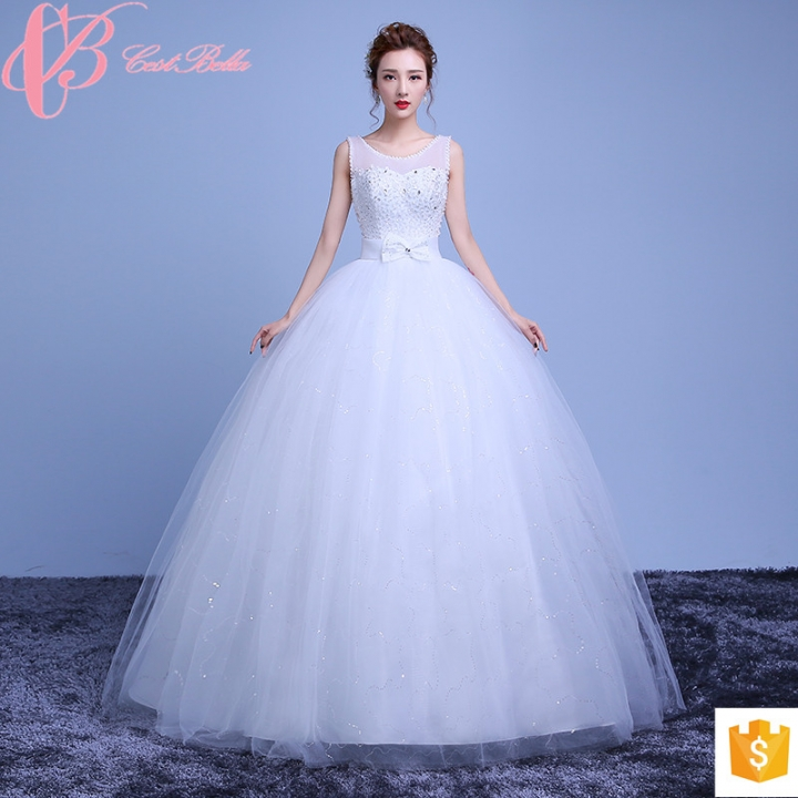 Kilimall: Floor-Touching Pure White Satin Beaded Plus Size Ball Gown ...