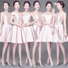 Cestbella Women Pink Bowknot Slim Short Polyster Bridesmaid Dress per picture us  4